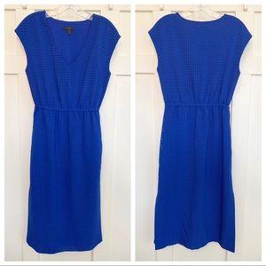 J. Crew Lasercut Diamond Pattern Blue Midi Dress